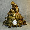 Large 19th c French dore bronze figural mantle clock