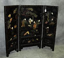 19th C Chinese black laquered table screen with applied