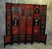 Antique Chinese carved and polychrome painted 6 panel