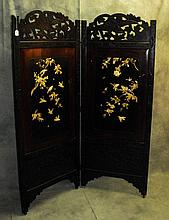 Chinese 2 panel black laquered floor screen with ivory