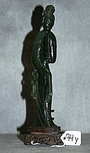 Antique Chinese spinache jade Quan Yin on carved wood base.