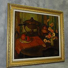 Nell Walker Warner (1891-1970 Carmel,Ca) oil on canvas still life signed lower left.