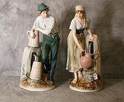 Large Pair Royal Dux porcelain figures. H:24