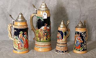 Four German Beer Steins, Largest H:14