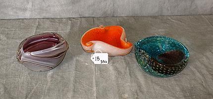 Three Venetian glass bowls. D:5