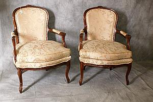 Pair antique French upholstered arm chairs. H:37.5