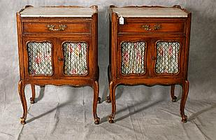 Pair antique country French nightstands with marble