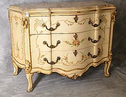 Italian painted marble top 3 drawer bombay commode.