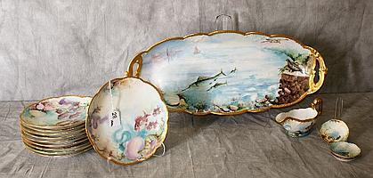 15 piece porcelain fish set marked A K France. Platter