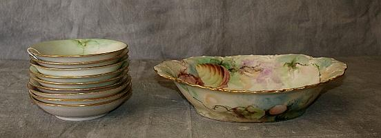 10 piece porcelain painted bowl set with paintings of
