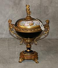 19th C Sevres bronze mounted porcelain covered compote