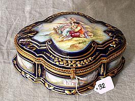 Large Sevres porcelain hinged covered box , artist