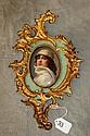 Gilt and painted broze framed porcelain plaque of a