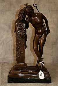 Antique bronze figural group , signed Moulin. H:17