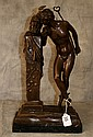 Antique bronze figural group , signed Moulin. H:17
