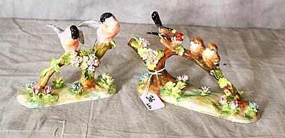 Two Staffordshire Porcelain figural groups of birds.