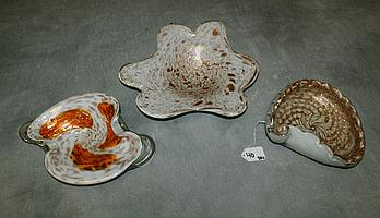 Three Venetian glass bowls. Largest D:8