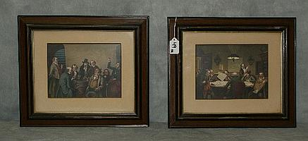 Pair antique colored Mezzotints in wood frames. Overall
