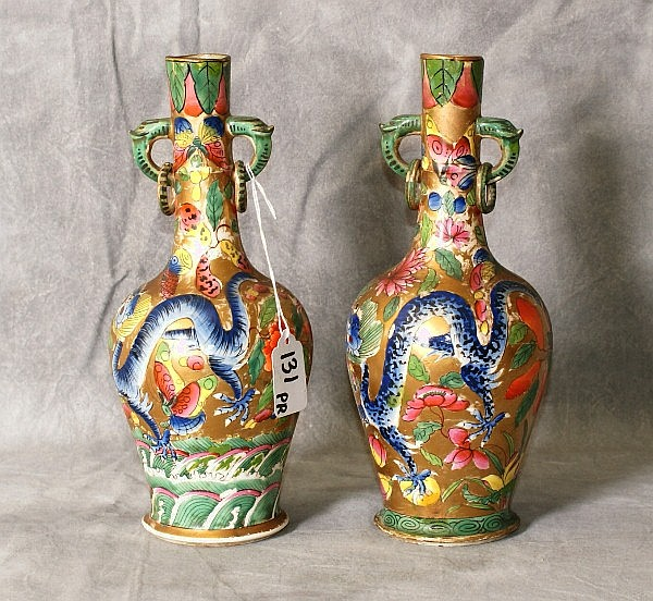 Unusual Pair 19th C Chinese porcelain painted vases