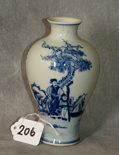 Chinese 19th C porcelain blue and white vase