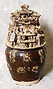chinese 19th c carved pottery figural village