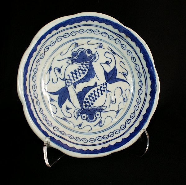 17th c. Japanese blue and white porcelain shallow bowl