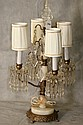 Antique marble ,bronze,and crystal table lamp