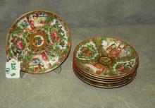88. 6 antique Chinese rose medallion porcelain saucers.
