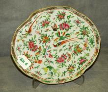 97. Antique Chinese rose medallion porcelain tray.
