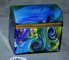 Opaline hinge covered box. H:4.75