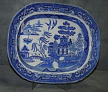 Large English blue and white porcelain platter in a