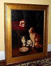 Oil on canvas of Kittens signed lower left