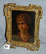 Antique oil on board mounted in giltwood frame signed