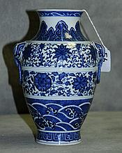 Antique Chinese blue and white porcelain vase with