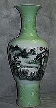 Large Chinese celedon porcelain vase. H:36.5