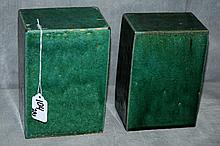 Two Chinese porcelain green glazed miniature pedestals.