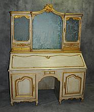 18th C Louis XV cream painted and parcel gilt two part