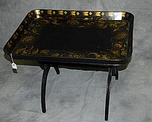 Black laquered and gilt tray table. H:23