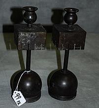Pair bronze candlesticks signed Tiffany on bottom.