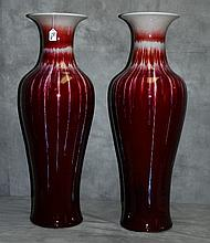 Large pair chinese flambe porcelain vases. H:34
