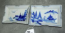 Pair antique chinese blue and white porcelain dishes.