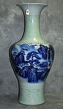 Chinese celedon and blue and white porcelain vase with