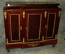 Bronze mounted marble top inlaid cabinet.