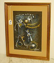 Joan Miro abstract mixed media on paper signed lower right.