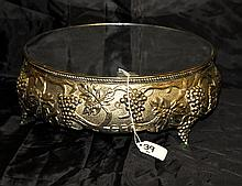 silver plate repousse mirrored plateau.