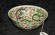 Antique Chinese porcelain dragon bowl with 6 character marks on bottom.