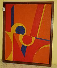 Oil on canvas abstract scene .