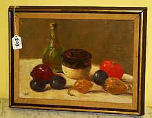 Oil on Masonite of still life of fruit signed lower left.