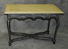 Painted French marble top center table. H:28. 5