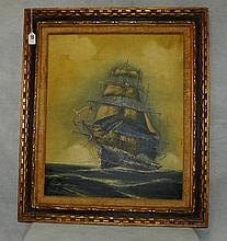 Oil on canvas of sailing ship signed lower left.